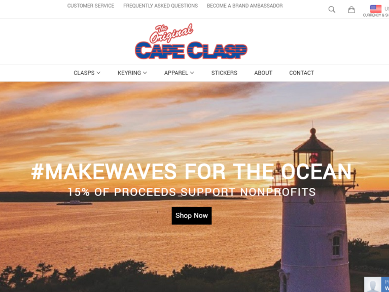 Shopify Design Cape Clasp Homepage Desktop
